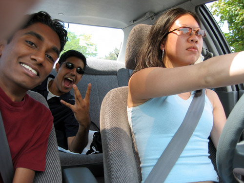 Steph, Rishi and I driving around in Steph's car.