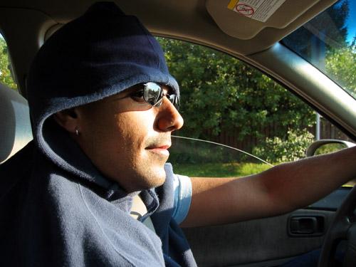 Rishi driving his car.