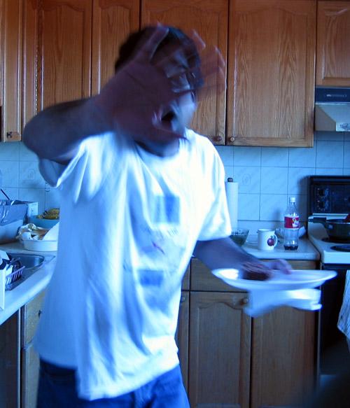 Mahi in my kitchen.