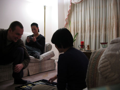 Carvill, Dave and Limin sitting in my living room.