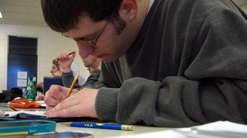 Ryan taking notes in CO 351.