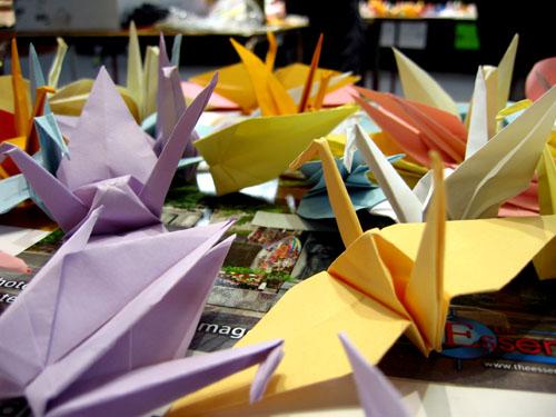 Almost 1000 paper cranes.