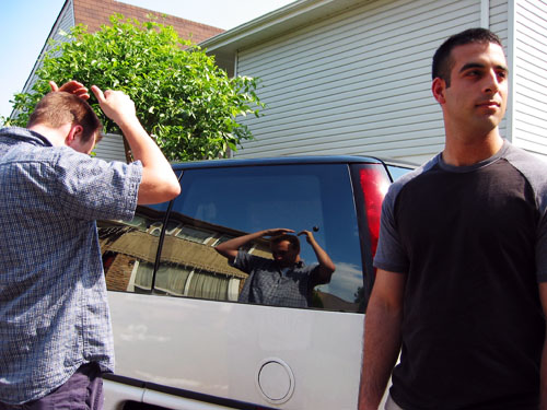 Mezan and Dave in front of my house.