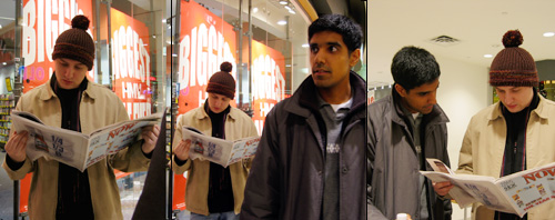 Dave reads <em>Now</em> magazine while in the Scarborough Town Center.