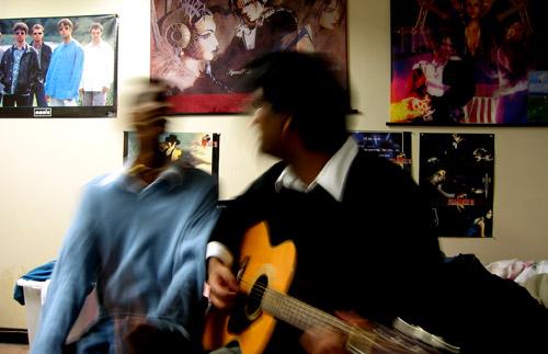 Mahi and Ahilan in my old room.