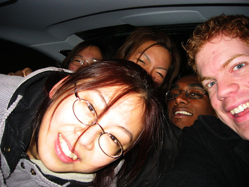Brigette, Prae, Anita, Jeff and myself squeezed in the back seats of Micheal's BMW.