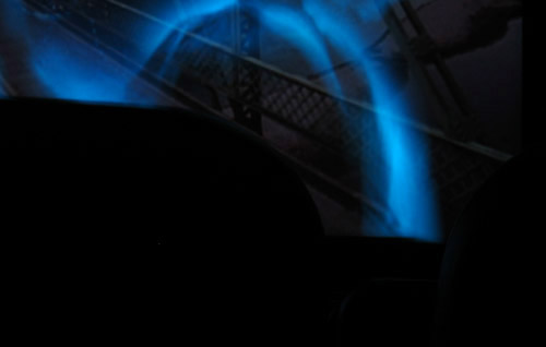 Inside a movie theatre.
