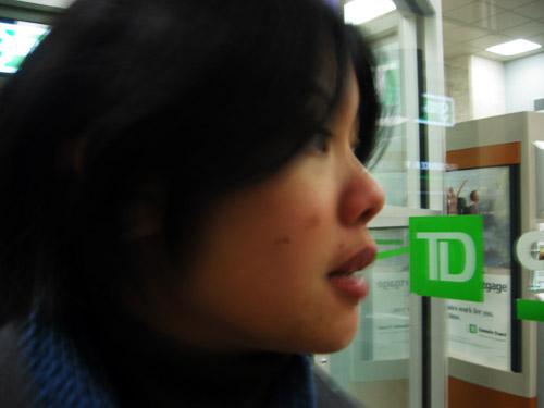 Carvill inside a TD bank.