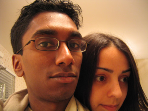 Shima and myself standing in Riadh's kitchen.