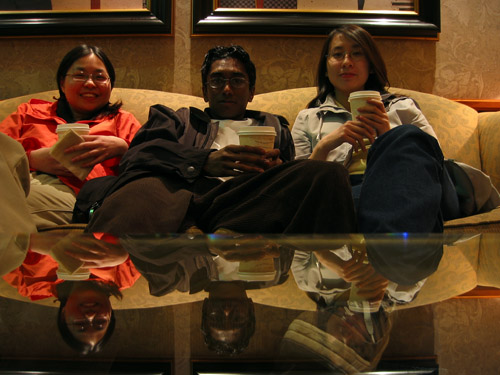 Sitting left to right, Angela, Myself and Tiffany at the lobby of the hilton next to Casino Niagara.
