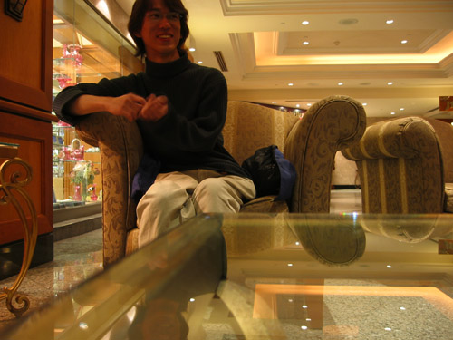 Yan in the lobby of the Hilton Hotel next to Casino Niagara.