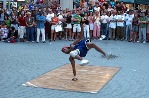 A break dancer called Cuba doing his thing.
