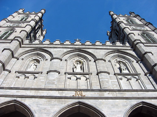 Two towers of a church.