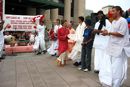 A group of Hari Krishnas singing on the streets of Ottawa.