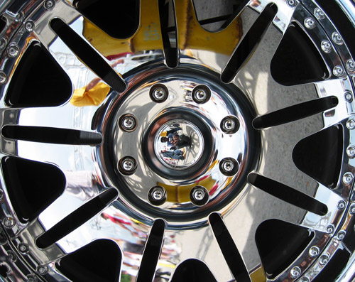 A picture of a wheel, sideways.