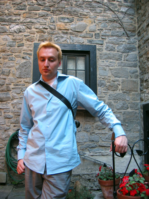 Dave standing in the courtyard of a building in Old Montreal.