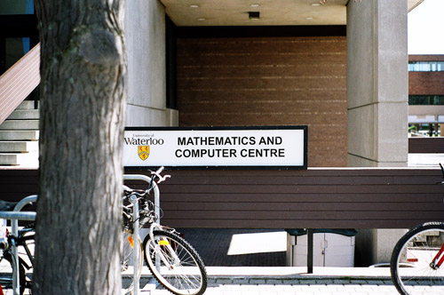 The sign in front of the Math and Computers centre.