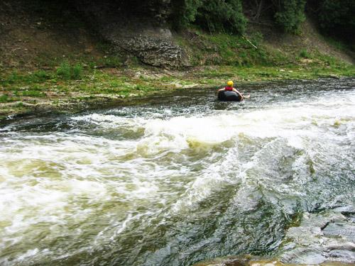 Matt in an inner tube on the grand river