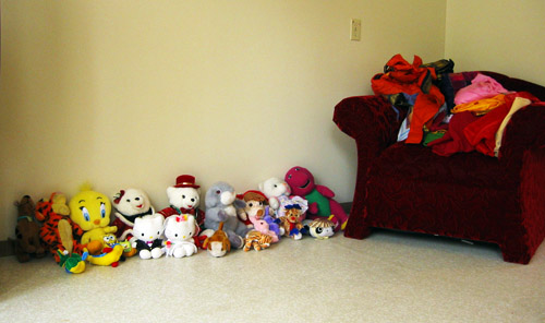 Hasha's teddy bears on the living room floor of her home.