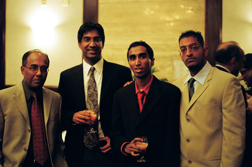 My dad, Mahi, Ahilan and Gajan at my cousin Arjuna's wedding reception.