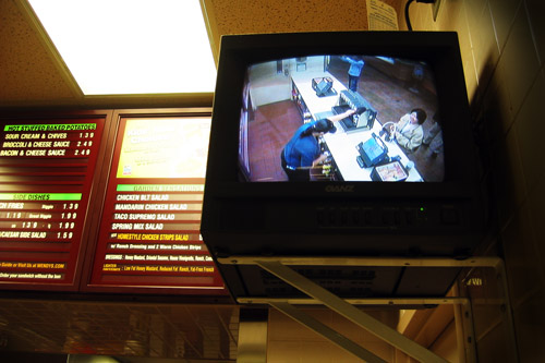 Carvill in the surveillance monitor inside Wendy's.