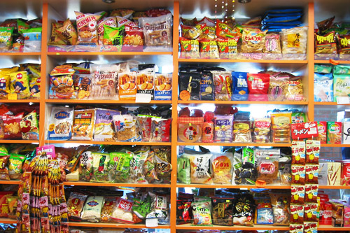 A shelf of Asian candy in a candy store in Pacific Mall