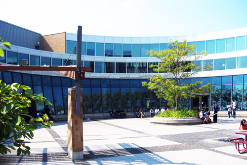 The Student Life Center in the middle of the University of Waterloo campus.