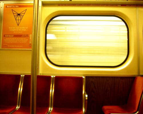 A window on a TTC subway.