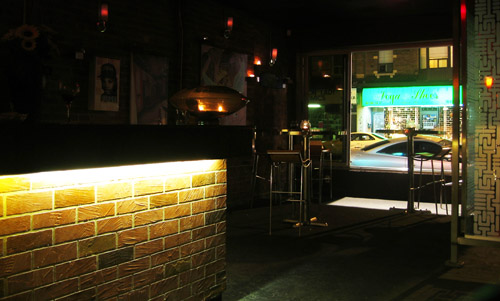 A view of the front window of Beba lounge.