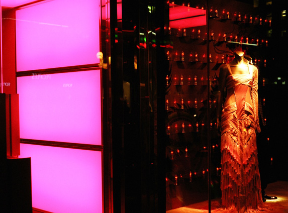 A dress in the window of the Gucci store on Bloor Street.