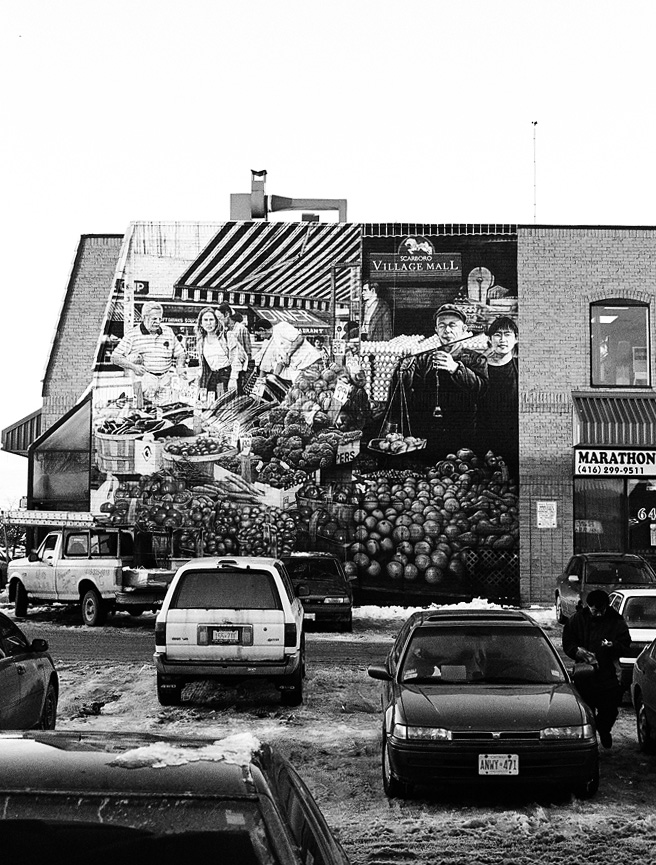 The mural across from the Midland and Finch Korean BBQ restaurant.