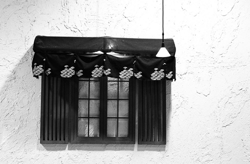 A window inside the Korean BBQ restaurant at Midland and Finch.