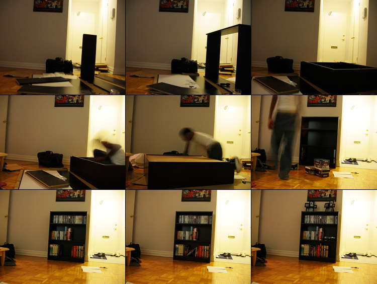 A few photos of me building my new bookcase.