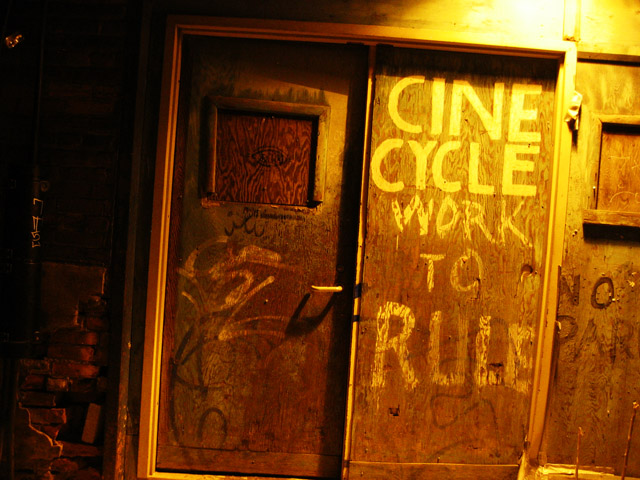 The entrance to Cinecycle, a music venue in Toronto.