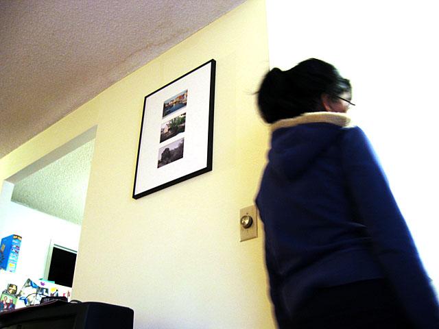 My cousin Vithiya in my cousin Usha's apartment.