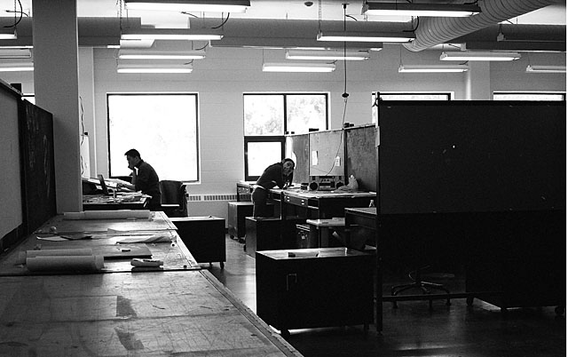 Shima and Jeff working in the old architecture studio.