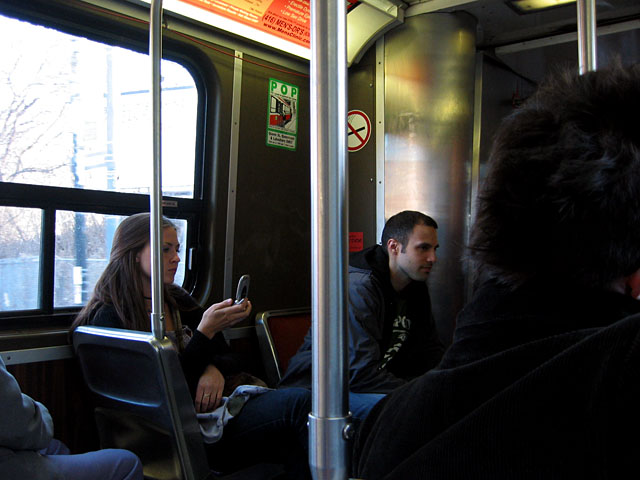 Caroline and Koray on the Queen St. Streetcar.