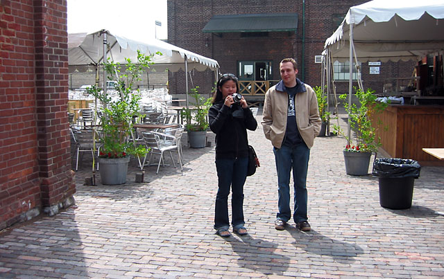 Carvill and Dave in the Distillery District.