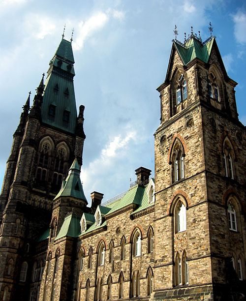 The parliament buildings in Ottawa.