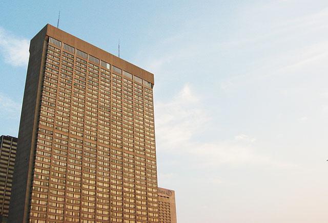 A pair of buildings near city hall.