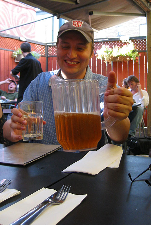 Dave pouring a pitcher of beer.