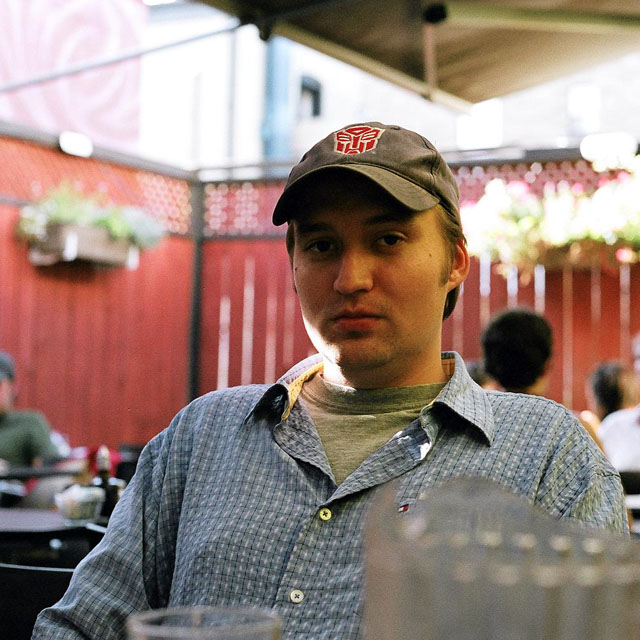 Dave in a patio in Little Italy.