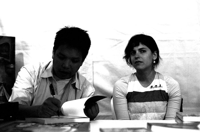 Kid Koala and Louisa Schabas and a comic book convention in Toronto.