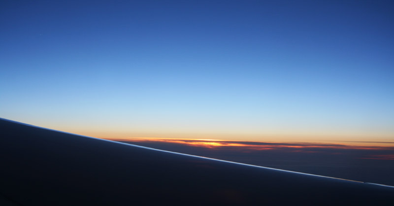 A picture of the sun setting from my air place seat.
