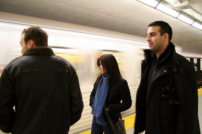 Dave, Carvill, and Mezan waiting in Spadina station.