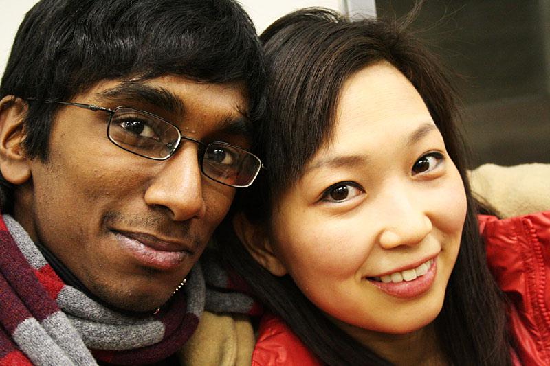 Tomoko and Me on the Tokyo subway.