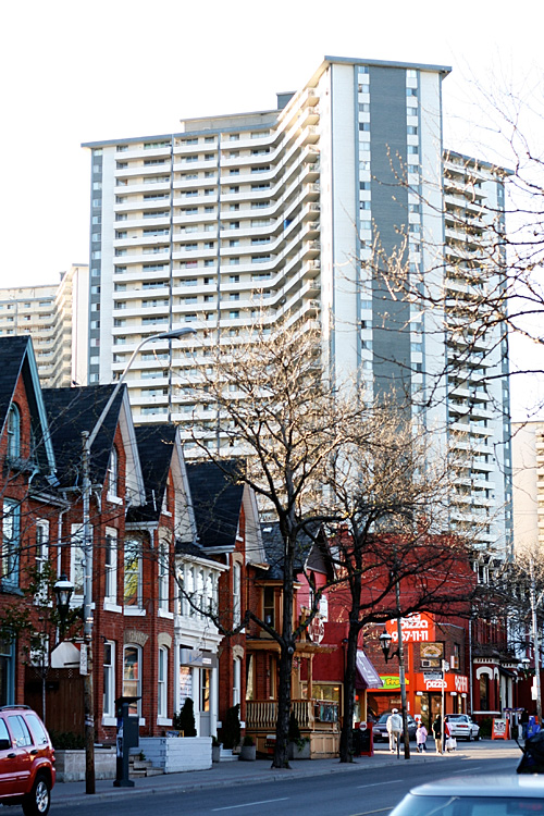 One of the Regent Park towers, and part of Cabbagetown.
