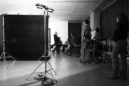 The class set up for portraiture