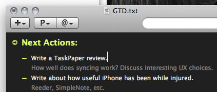 TaskPaper running on my Mac
